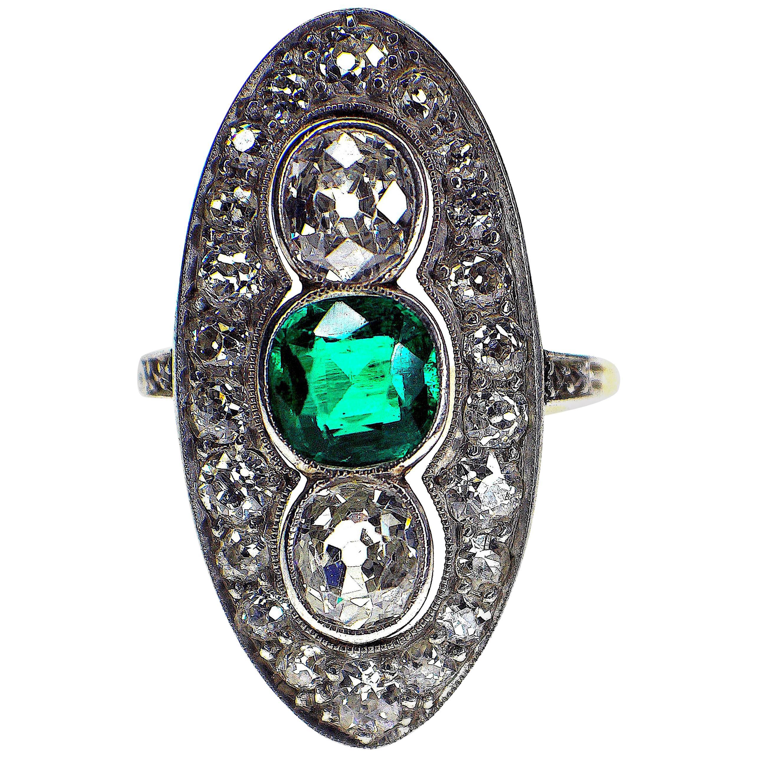 Gemolithos Art Deco Plat and 18 Karat Gold Colombian Green Emerald Diamond Ring