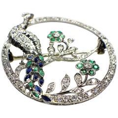 Gemolithos Art Deco Sapphire Emerald and Diamond Brooch, 1920s