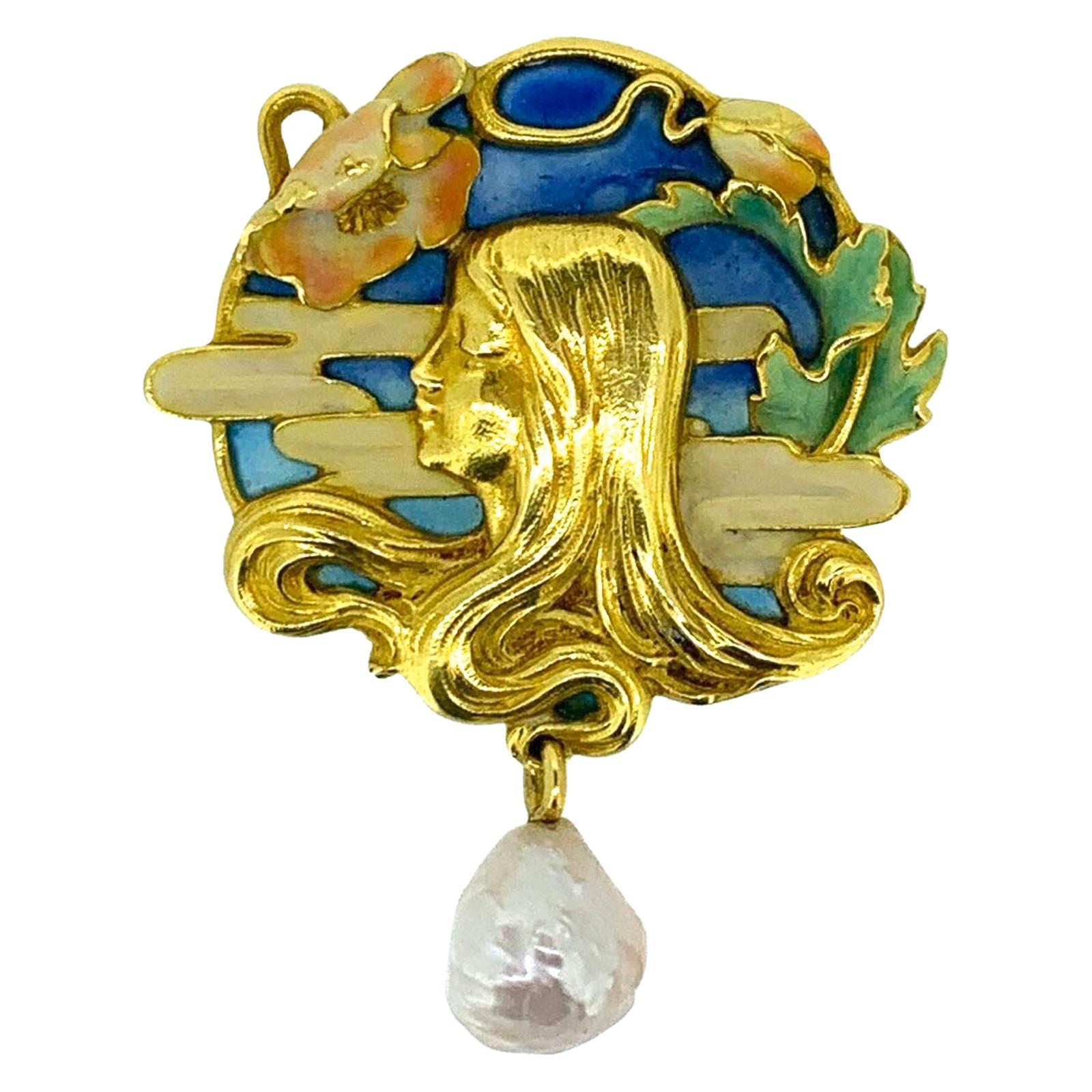 Gemolithos Art Nouveau Enamel and Natural Pearl Pendant, circa 1900s
