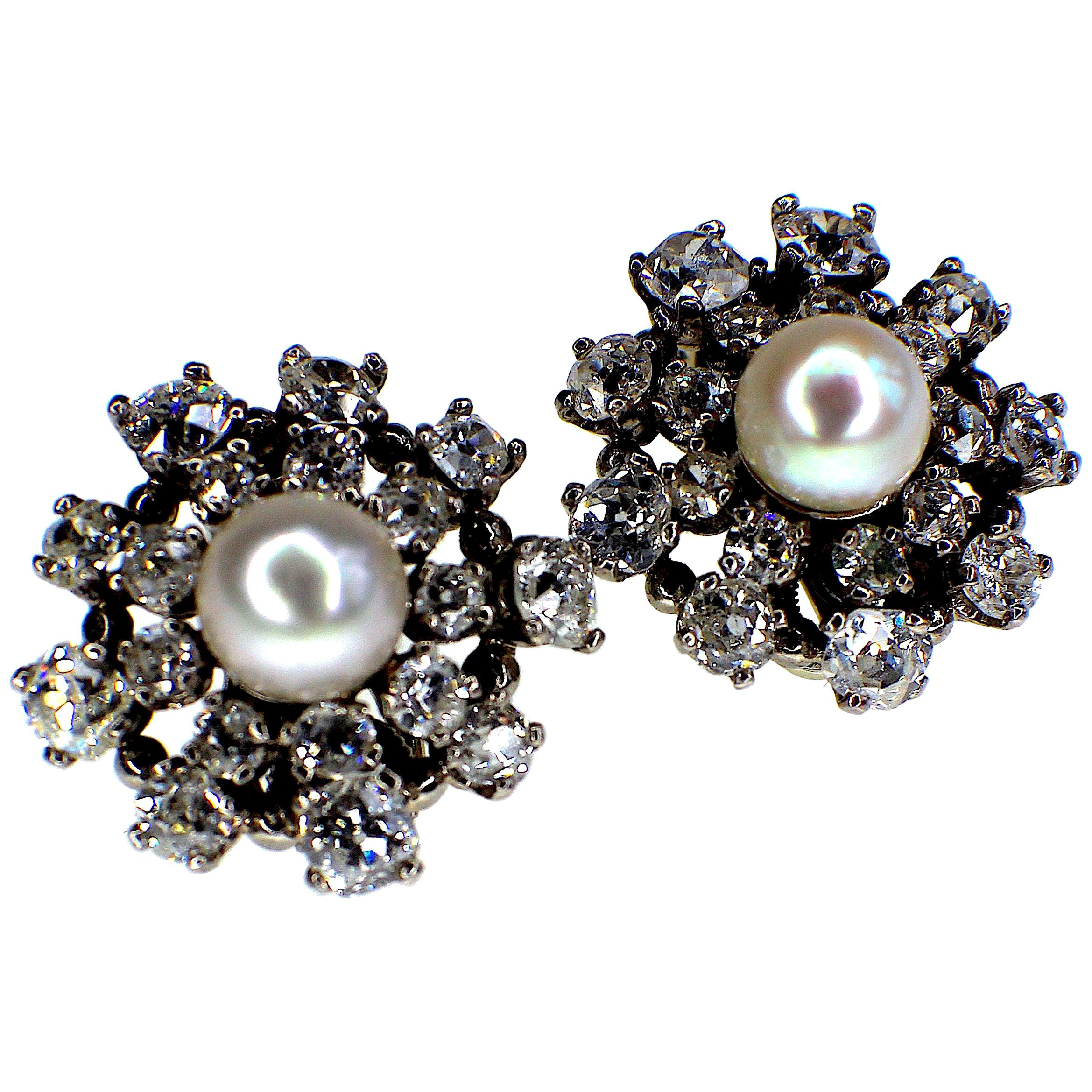 Gemolithos Beautiful Natural Pearl and Diamond Earrings, 1950s
