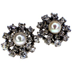Gemolithos Beautiful Natural Pearl and Diamond Earrings, 1950s