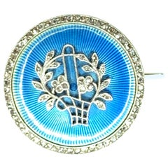 Gemolithos, Belle Époque Rosé-Cut Diamond and Enamel Brooch-Locket, circa 1900s