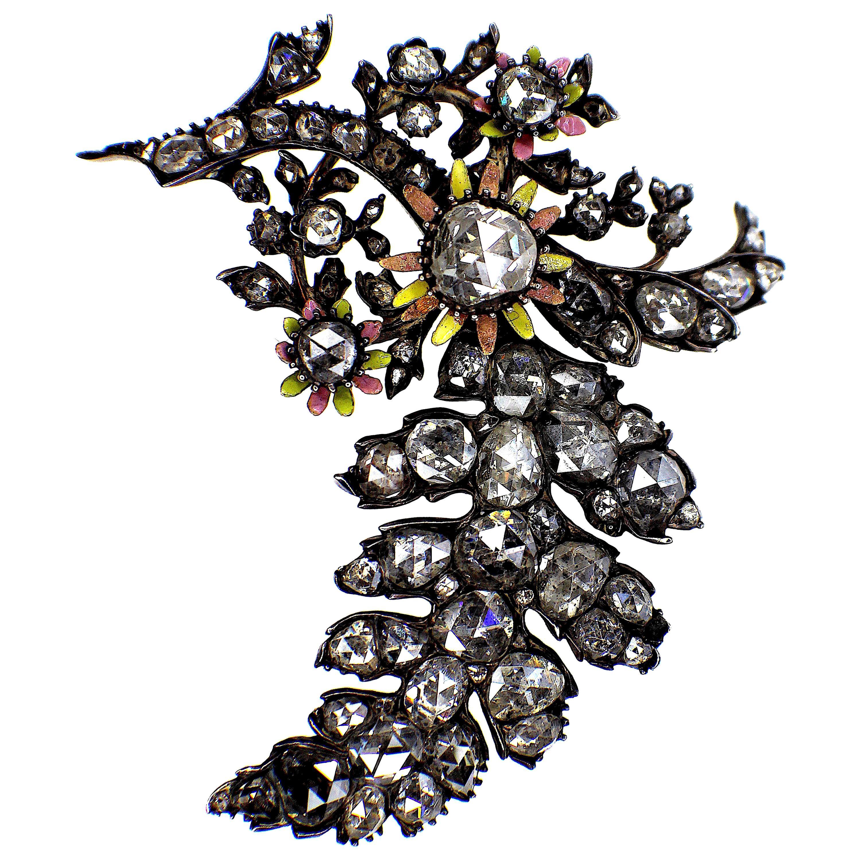 Gemolithos Beautiful Antique Silver and Gold Diamond Enamel Brooch