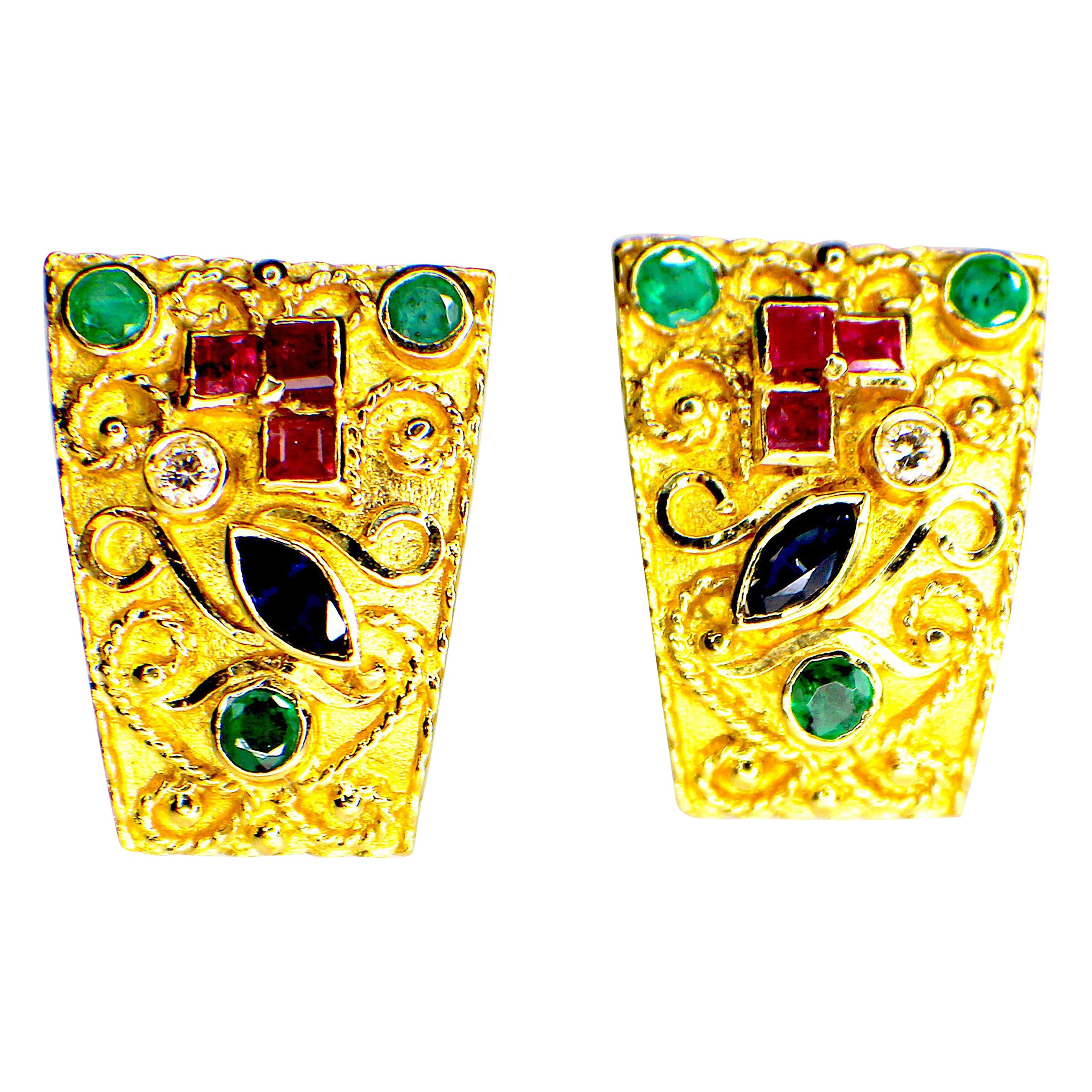 Gemolithos Byzantine Style, Handcrafted, Gem Set Earrings, 1970s-1980s