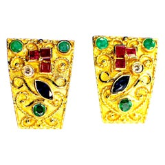 Gemolithos Byzantine Style, Handcrafted, Gem Set Earrings, 1970s-1980s