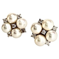 Gemolithos Cultured Pearls and Diamond Earrings 18 Karat, for Every Day