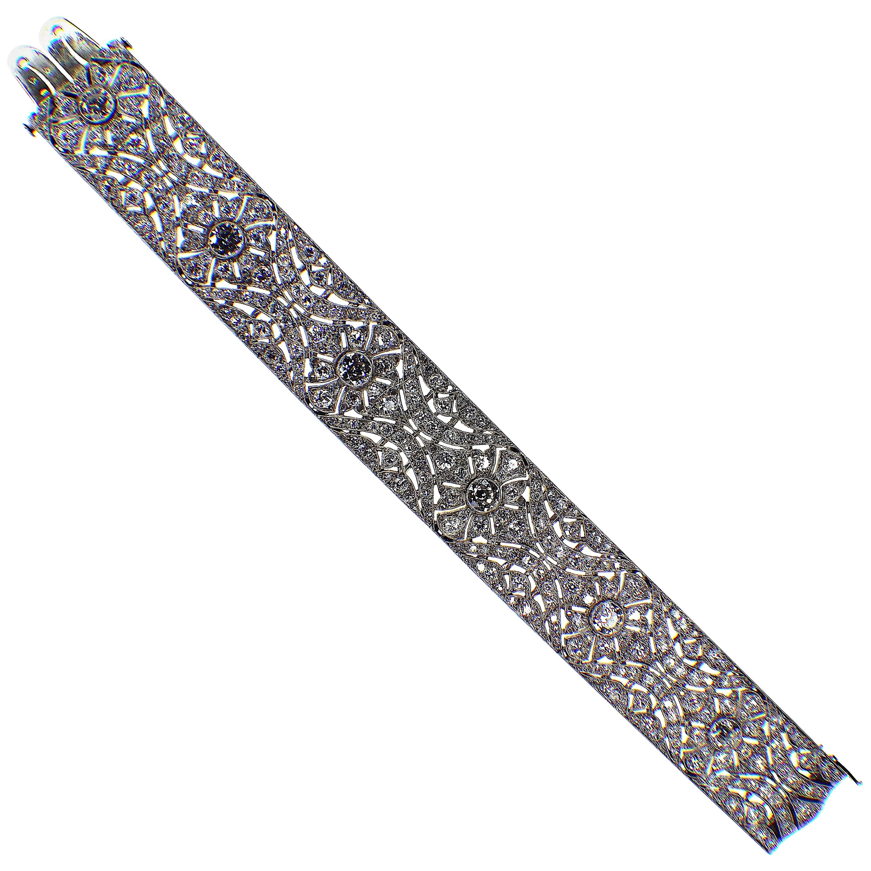 Gemolithos French 1920s Art Deco Platinum Diamond Bracelet