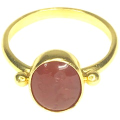 Gemolithos Modern Carnelian Intaglio 22 Karat Gold Ring with Eros for Every Day