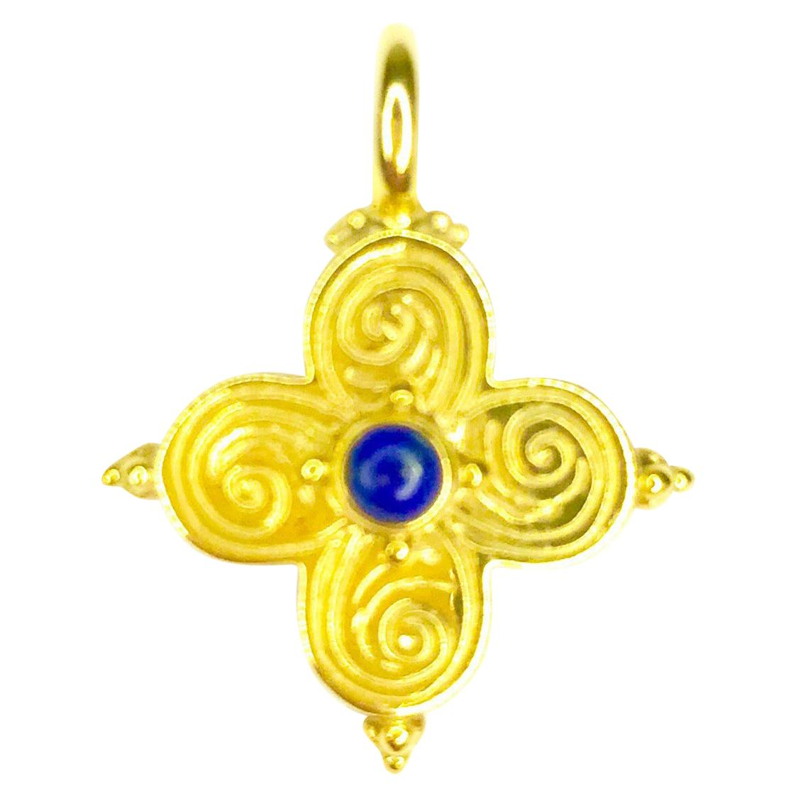Gemolithos Modern Lapis Lazuli 18 Karat Gold Cross Pendant for Every Day