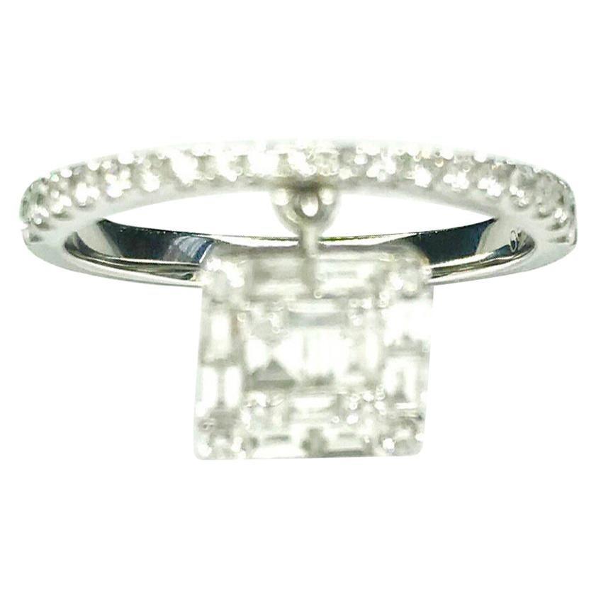 Gemolithos Modern White Gold 18 Karat and Diamond Dancing Ring for Every Day