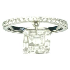 Gemolithos Modern White Gold 18 Karat and Diamond Dancing Ring for Every Day