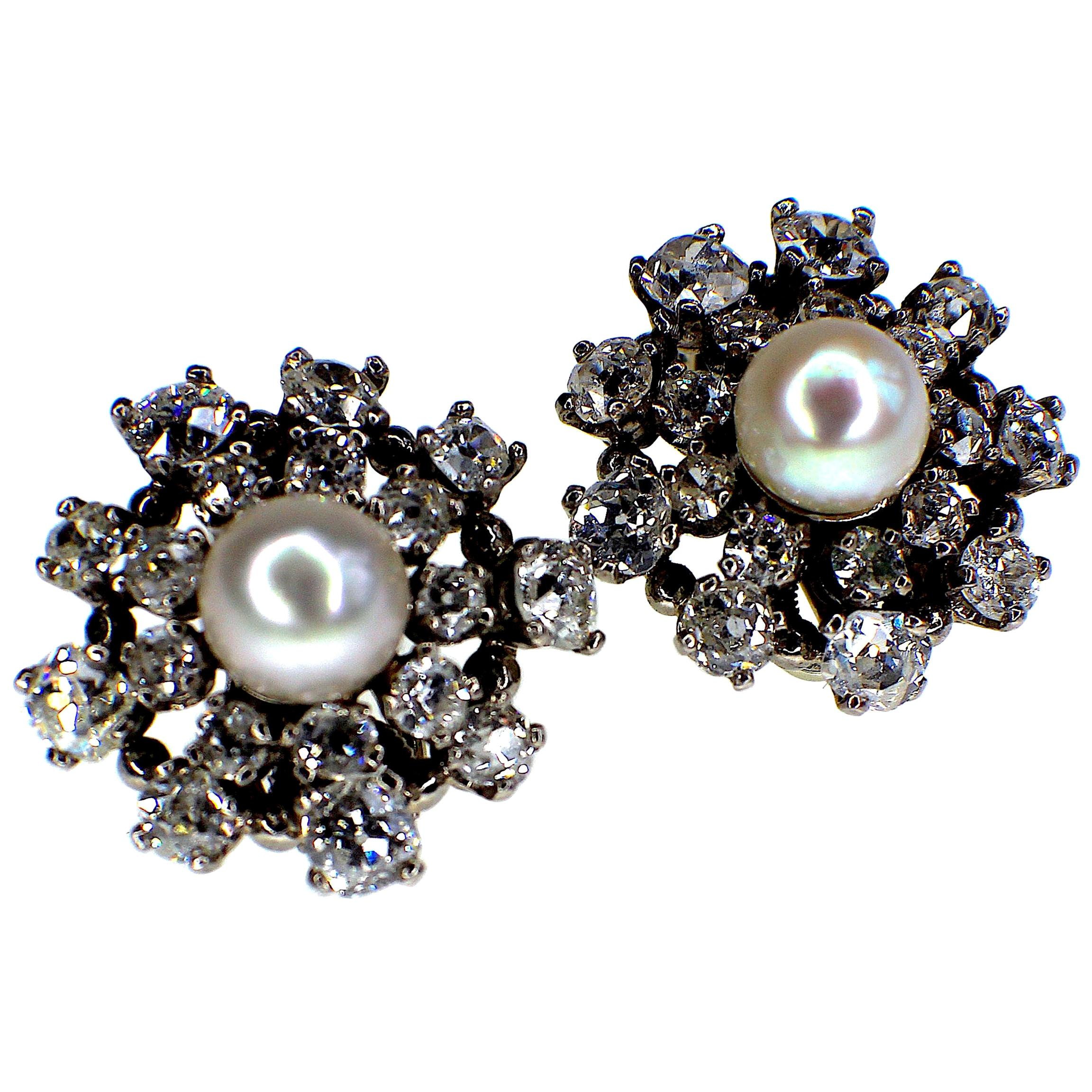Gemolithos Natural Pearl and Diamond Earrings, 1950s