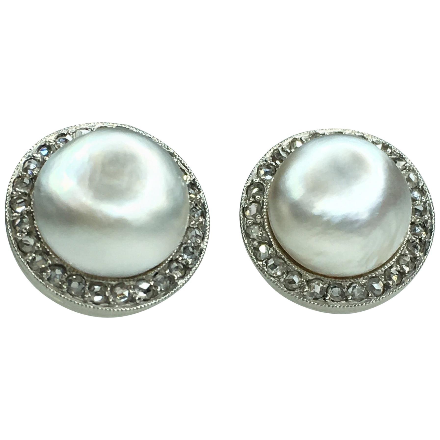 Gemolithos Natural Pearl and Diamond Stud Earrings, 1910