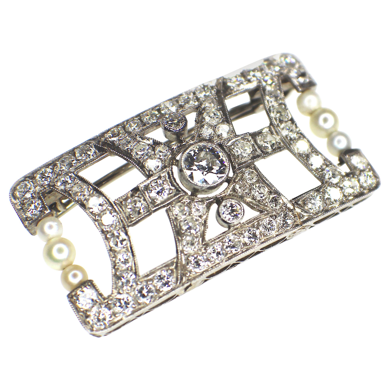 Gemolithos Platinum Art Deco Pearl and Diamond Brooch