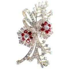 Gemolithos Ruby and Diamond Brooch