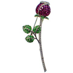 Gemolithos Ruby, Pink Sapphire, Tsavorite and Diamond Brooch