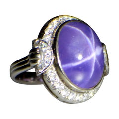 Gemolithos Star Purple Sapphire and Diamond Ring, 1930s