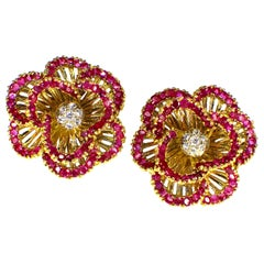 Gemolithos Tiffany & Co. Signed Ruby and Diamond Earclips, 1960s