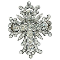 Gemolithos, Victorian, Early 19th Century Diamond Cross Brooch-Pendant
