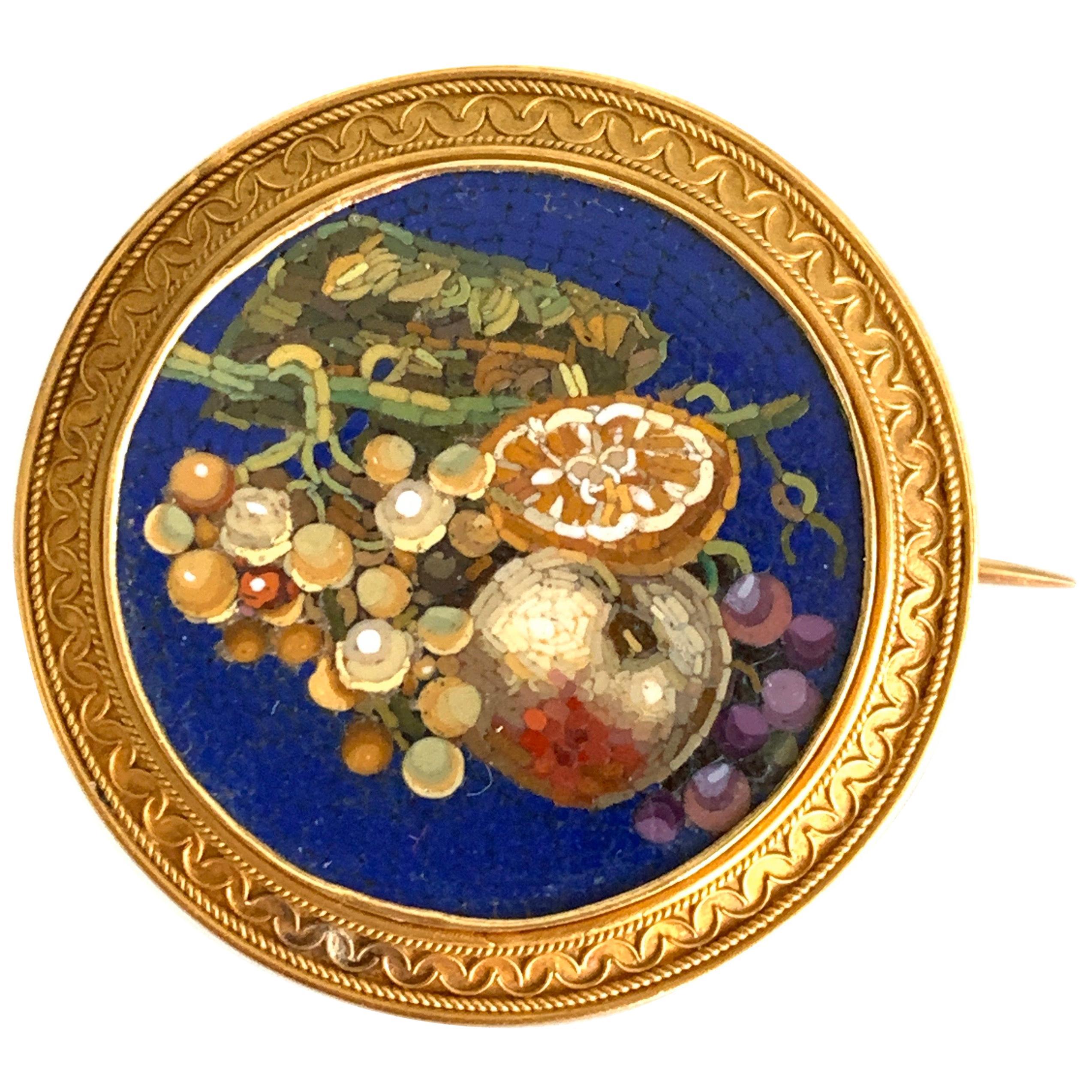 Gemolithos, Victorian Micro Mosaic Brooch, circa 1860s