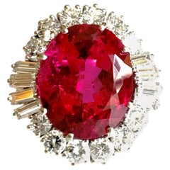 Gemolithos, Vintage Rubellite and Diamond Ring, circa 1960s