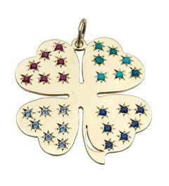 Gemset 4-Leaf Clover Pendant/Charm