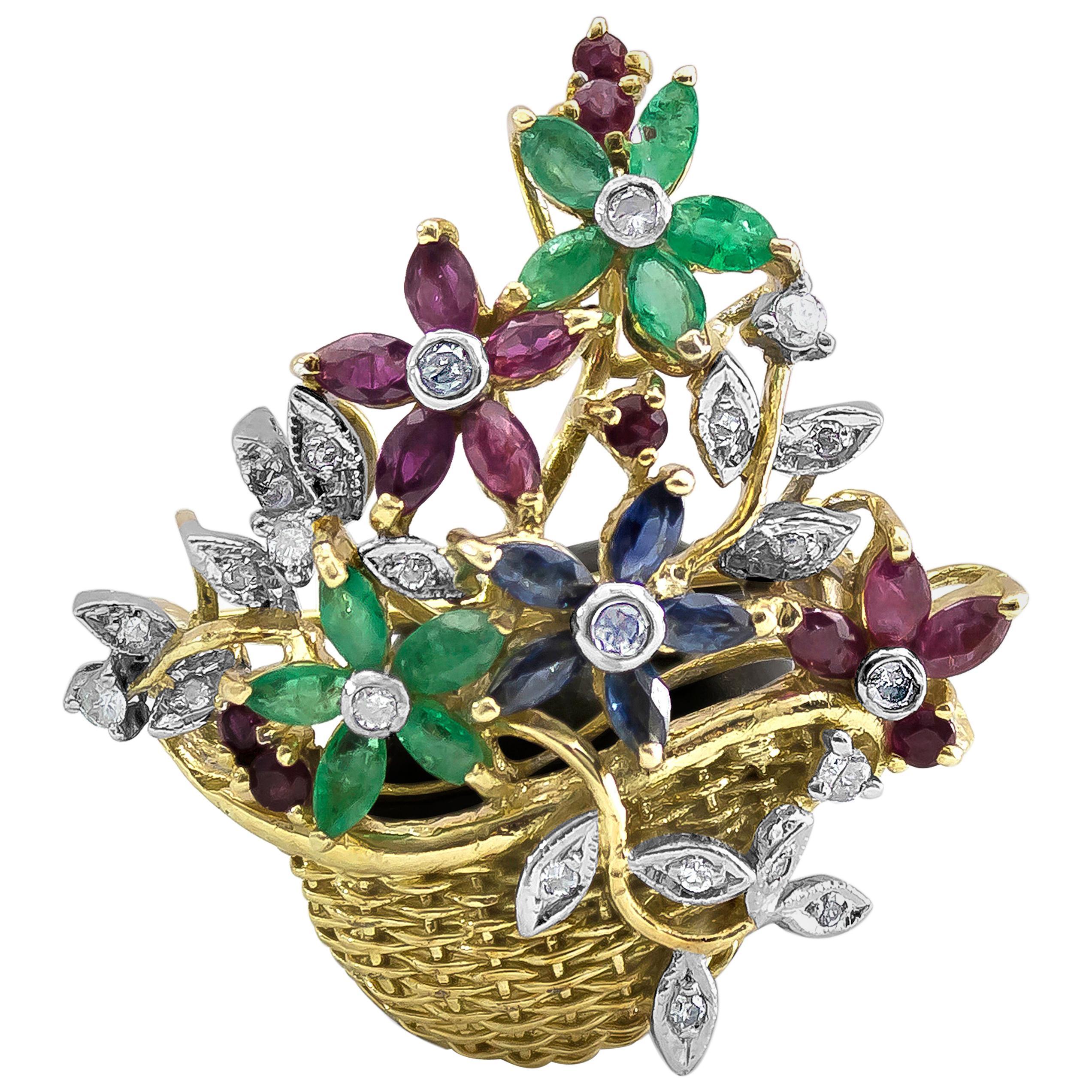 Diamanten & Edelsteine Ansteck Nadel Brosche Mit Smaragd Saphir Saphire Rubin Brillant Platin