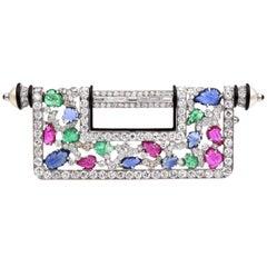 "Gemstone and Diamond ""Chinese Key"" Brooch"