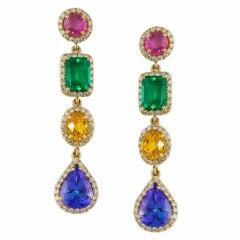 Multi Gemstone Diamond Drop Earrings