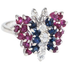 Gemstone Butterfly Ring Vintage Diamond Ruby Sapphire 14 Karat White Gold Estate