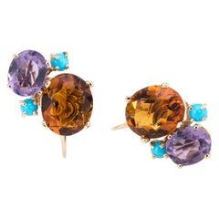 Gemstone Cluster Earrings 14 Karat Gold Citrine Amethyst Turquoise Estate