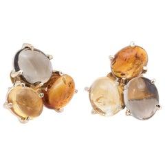 Gemstone Cluster Earrings Vintage 14k Yellow Gold Citrine Quartz Estate Jewelry