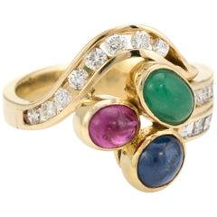 Gemstone Cluster Ring Diamond Vintage 14 Karat Yellow Gold Estate Fine Jewelry