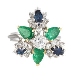 Gemstone Cluster Ring Emerald Sapphire Diamond Vintage 18 Karat Gold Cocktail
