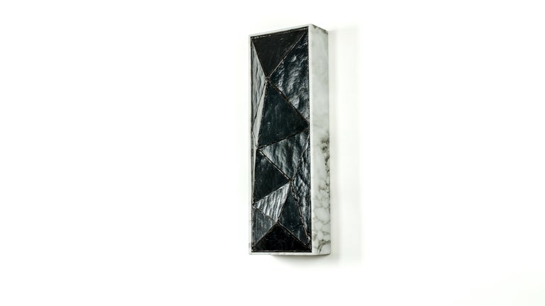 Gem_Stone, Contemporary Wall Sconce in Glass and Carrera Marble by Kalin Asenov For Sale 11