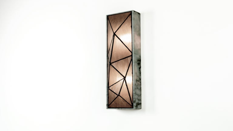 Gem_Stone, Contemporary Wall Sconce in Glass and Carrera Marble by Kalin Asenov For Sale 12