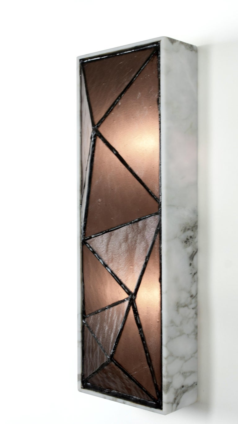Gem_Stone, Contemporary Wall Sconce in Glass and Carrera Marble by Kalin Asenov For Sale 13