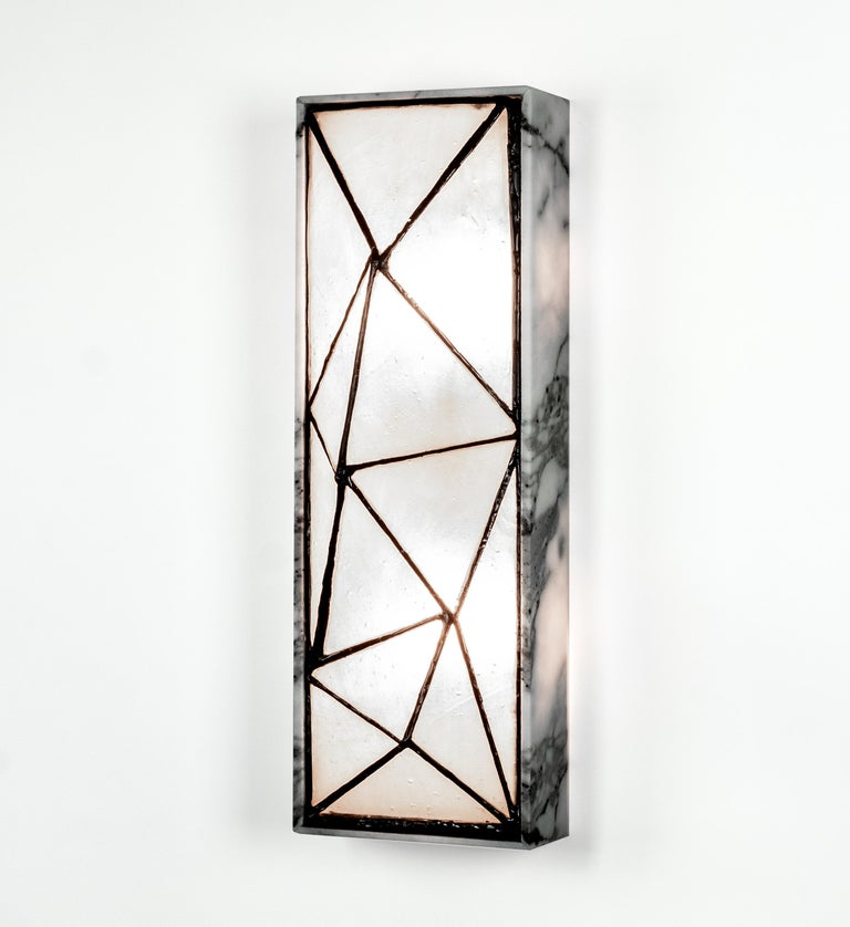 Gem_Stone, Contemporary Wall Sconce in Glass and Carrera Marble by Kalin Asenov For Sale 4