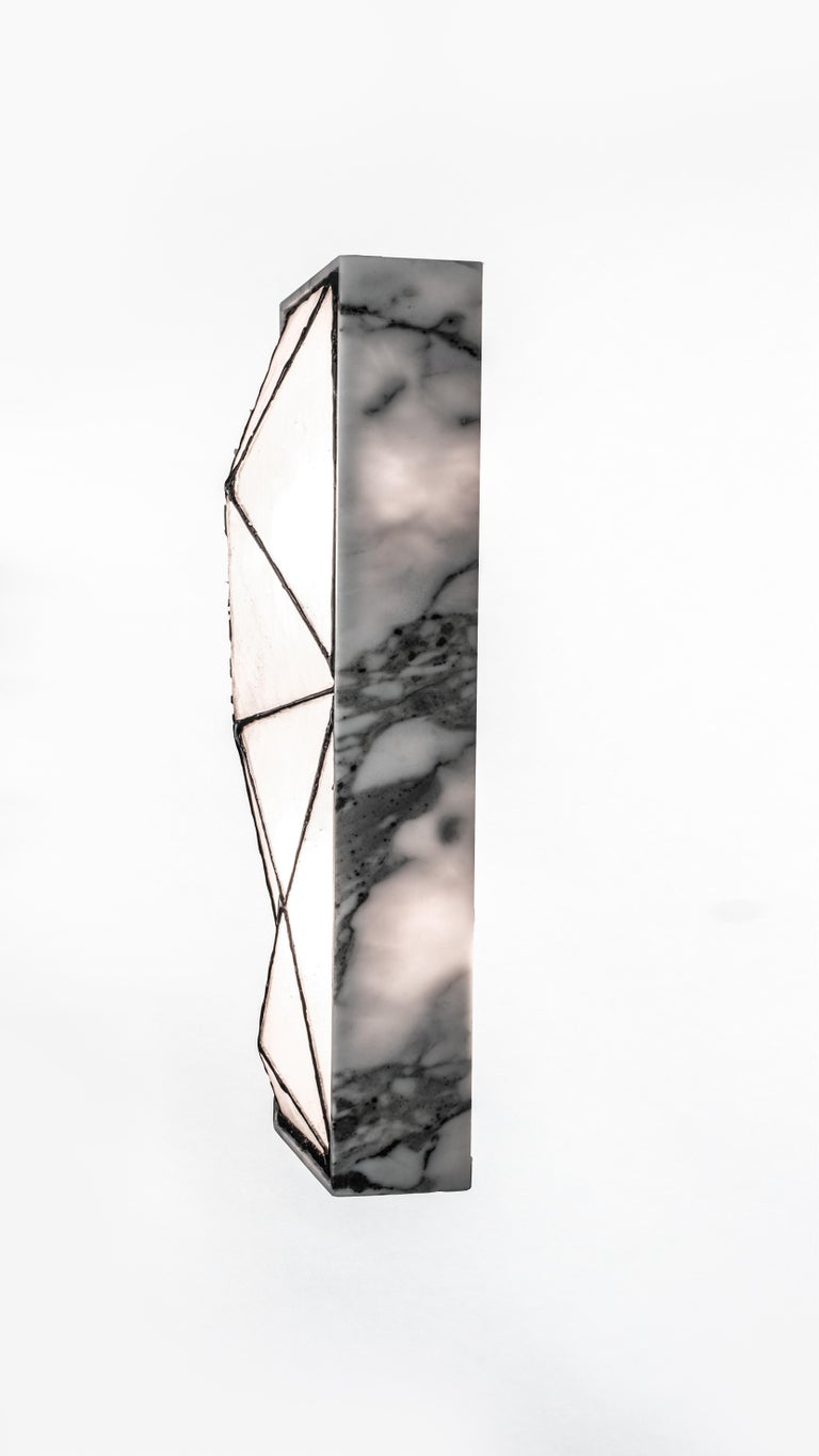 Gem_Stone, Contemporary Wall Sconce in Glass and Carrera Marble by Kalin Asenov For Sale 3