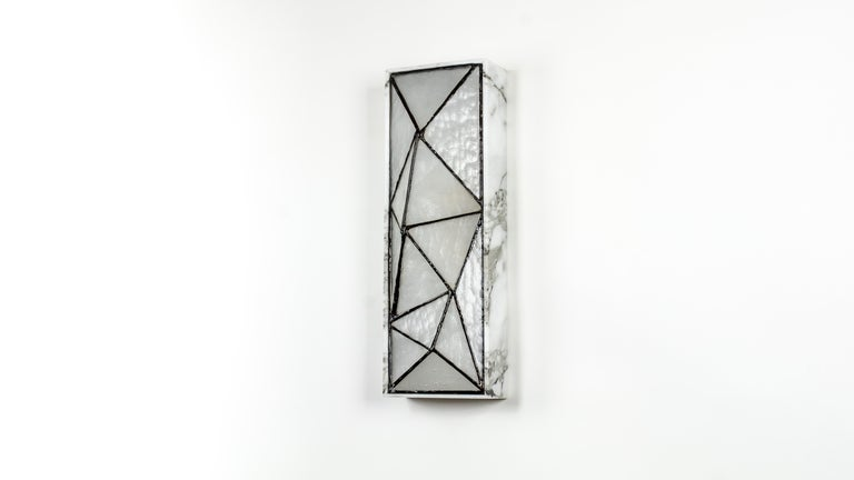 American Gem_Stone, Contemporary Wall Sconce in Glass and Carrera Marble by Kalin Asenov For Sale