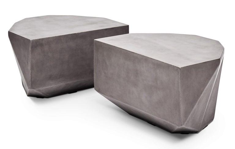 Modern Gemstone Indoor/Outdoor Center Table, Dark Grey For Sale