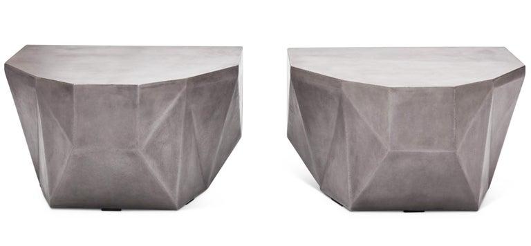 Concrete Gemstone Indoor/Outdoor Center Table, Dark Grey For Sale