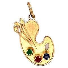 Gemstone Painter's Palette Charm in 14 Karat Yellow Gold
