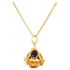 Gemstone Pyramid Pendant & Serpentine Chain Necklace, Custom Charm 18 Karat Gold
