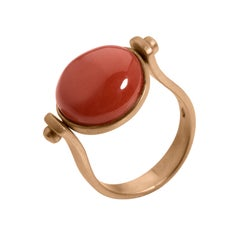 Petronilla Gemstone Red Coral Roman Style Red 18 Kt Gold Reversible Italian Ring