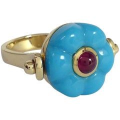Made in Italy Gemstone Ruby Turquoise 18 Karat Gold Roman Style Turnable Ring