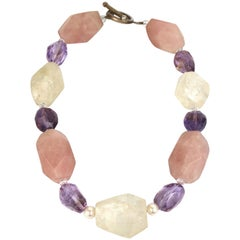 Gemstone Statement Necklace- Huge Rose Quartz,Quartz, Amethyst