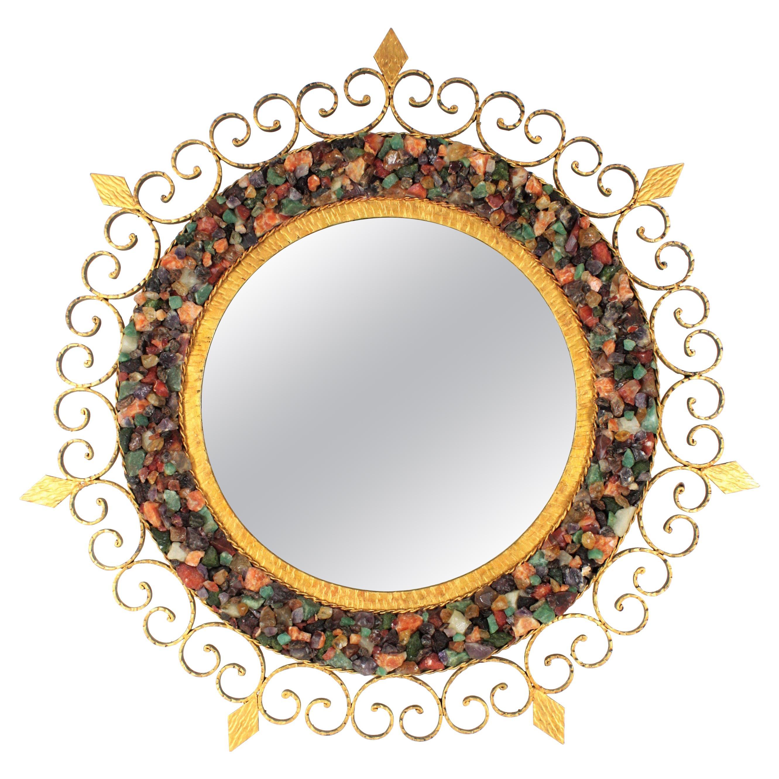 Gemstone Sunburst Mirror in Wrought Gilt Iron