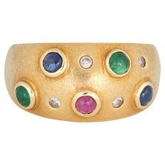 Gemstone Wide Band Ruby Emerald Sapphire Diamond 18 Karat Gold Vintage Ring