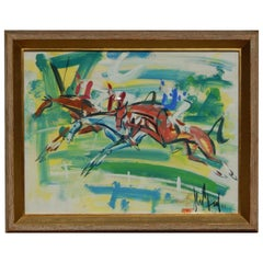 """Gen Paul French Expressionist Gouache, """"Steeplechase"""""""